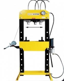 Ruční hydraulický lis 30t + pneumatika + pohyblivý píst